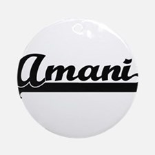 Amani Classic Retro Name Design Ornament (Round)