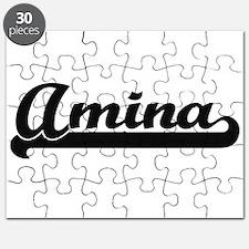 Amina Classic Retro Name Design Puzzle