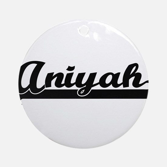 Aniyah Classic Retro Name Design Ornament (Round)