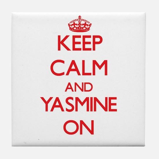 Keep Calm and Yasmine ON Tile Coaster