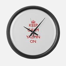 Keep Calm and Yazmin ON Large Wall Clock