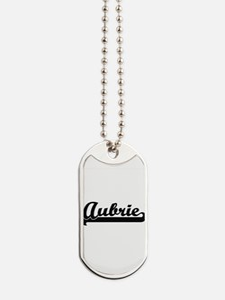 Aubrie Classic Retro Name Design Dog Tags