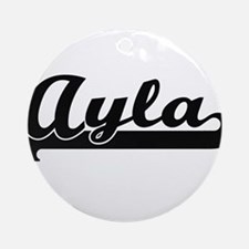 Ayla Classic Retro Name Design Ornament (Round)