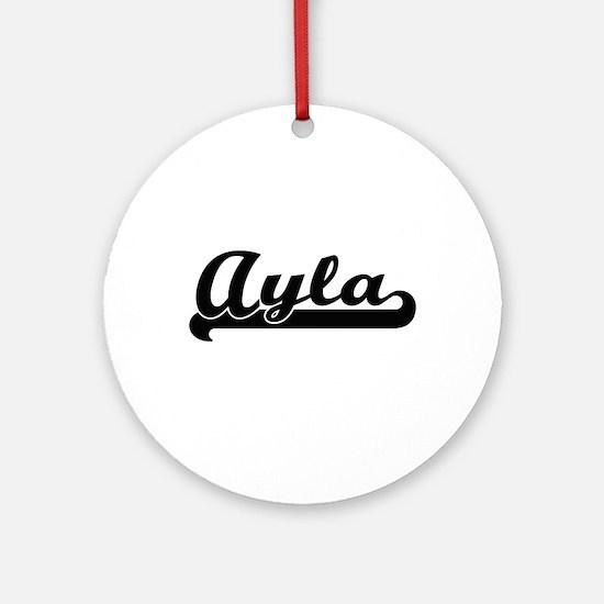 Ayla Classic Retro Name Design Ornament (Round)