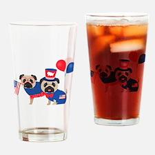 Patriotic Pugs - Black Pug Drinking Glass