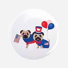 Patriotic Pugs - Black Pug Button