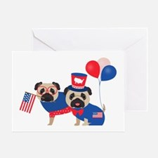 Patriotic Pugs - Black Pug Card Greeting Cards