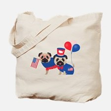Patriotic Pugs - Black Pug Tote Bag