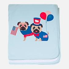 Patriotic Pugs - Black Pug baby blanket