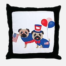 Patriotic Pugs - Black Pug Throw Pillow