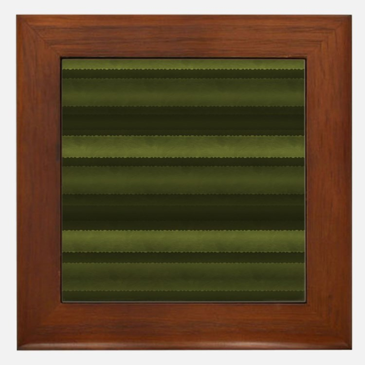 Elegant Olive Green Stripes Framed Tile