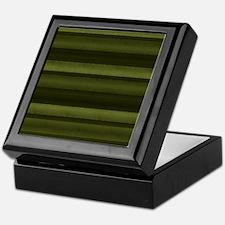 Elegant Olive Green Stripes Keepsake Box