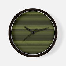 Elegant Olive Green Stripes Wall Clock