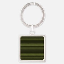 Elegant Olive Green Stripes Square Keychain