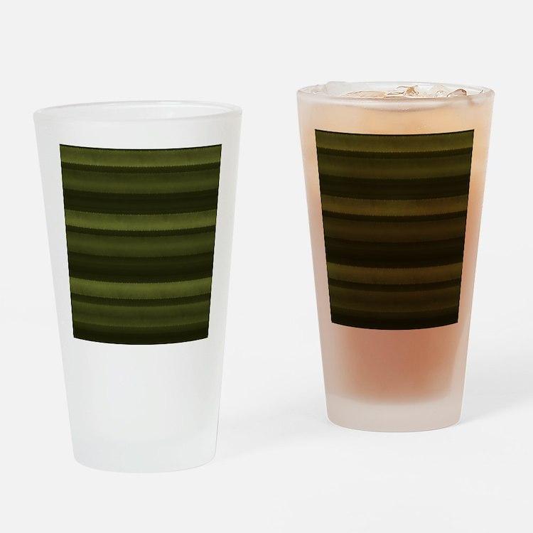 Elegant Olive Green Stripes Drinking Glass