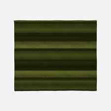 Elegant Olive Green Stripes Throw Blanket