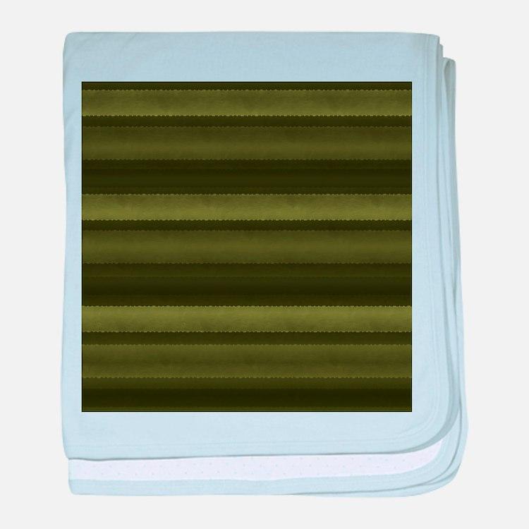 Elegant Olive Green Stripes baby blanket