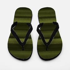 Elegant Olive Green Stripes Flip Flops
