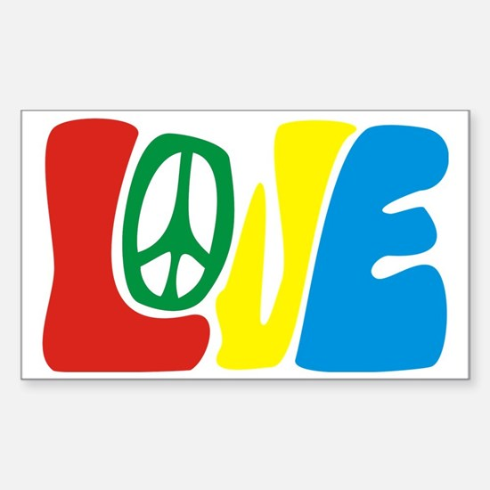 lovePeace Sticker (Rectangle)