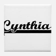 Cynthia Classic Retro Name Design Tile Coaster