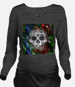 Skull with colorful Long Sleeve Maternity T-Shirt