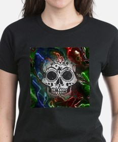 Skull with colorful marbled Vignette T-Shirt