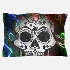 Skull with colorful marbled Vignette Pillow Case