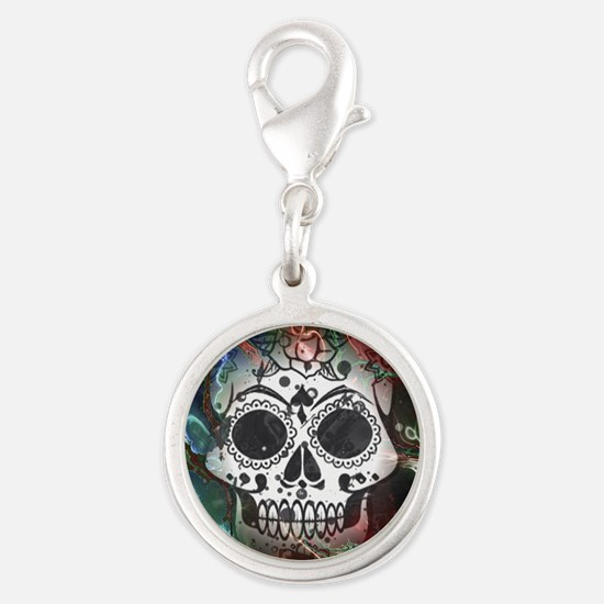 Skull with colorful marbled Vignette Charms