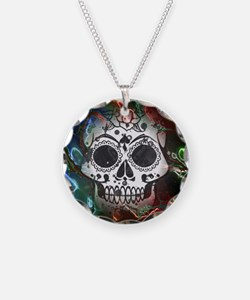 Skull with colorful marbled Necklace