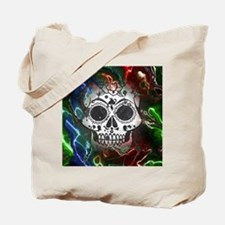 Skull with colorful marbled Vignette Tote Bag