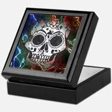 Skull with colorful marbled Vignette Keepsake Box