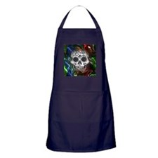 Skull with colorful marbled Vignette Apron (dark)
