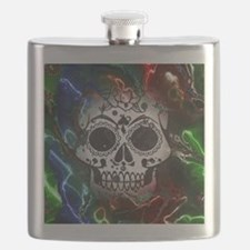 Skull with colorful marbled Vignette Flask
