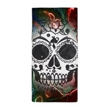 Skull with colorful marbled Vignette Beach Towel