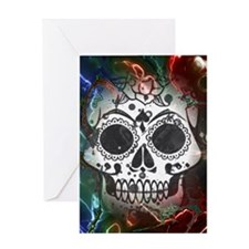 Skull with colorful marbled Vignett Greeting Cards