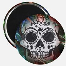 Skull with colorful marbled Vignette Magnets
