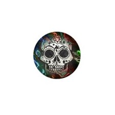 Skull with colorful marbled Mini Button (10 pack)