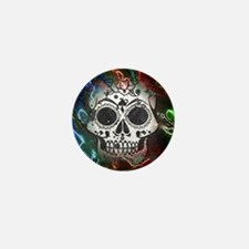 Skull with colorful marbled Vignette Mini Button