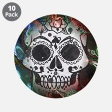 """Skull with colorful marbled 3.5"""" Button (10 pack)"""