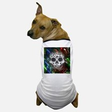 Skull with colorful marbled Vignette Dog T-Shirt