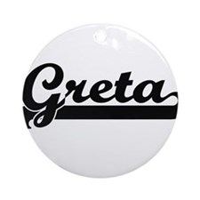 Greta Classic Retro Name Design Ornament (Round)
