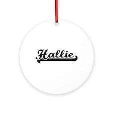 Hallie Classic Retro Name Design Ornament (Round)