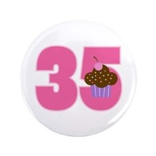 35th Birthday Cupcake Button