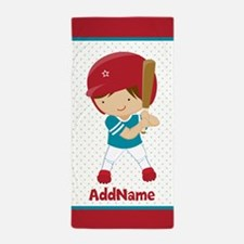 Aqua red personalized Name baseball Beach Towel