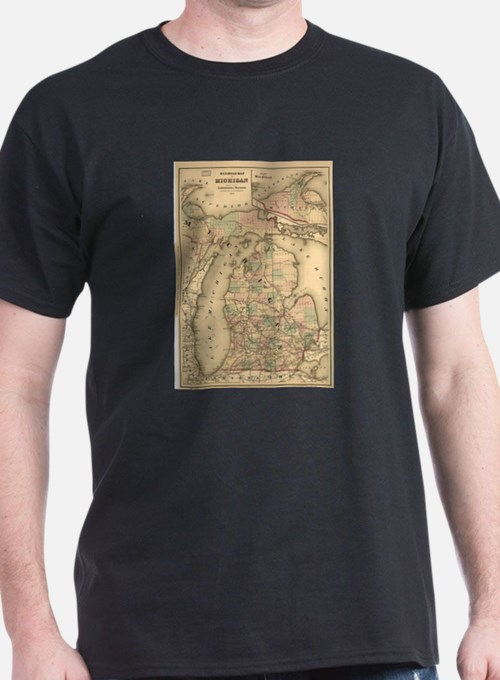 Vintage Map of The Michigan Railroads (187 T-Shirt