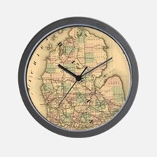 Vintage Map of The Michigan Railroads ( Wall Clock