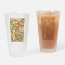 Vintage Map of The Michigan Railroa Drinking Glass