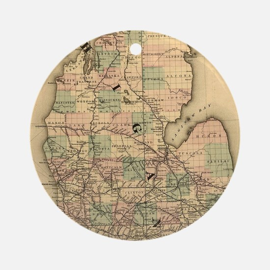 Vintage Map of The Michigan Railr Ornament (Round)