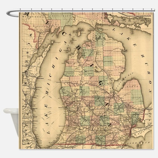 Vintage Map of The Michigan Railroa Shower Curtain