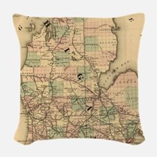 Vintage Map of The Michigan Ra Woven Throw Pillow